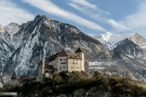 A view of the Gutenberg Castle on January 23 2019 in Balzers Liechtenstein 300 years ago the shire of Vaduz and the lordship of Schellenberg were...