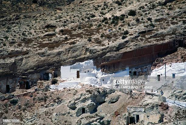 View of the gypsy quarter of La Chanca and its cave dwellings Almeria Andalucia Spain