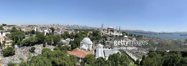View of the Hagia Sophia Mosque ahead of the Friday Prayer which will be performed for the first time after 86 years on July 24, 2020 in Istanbul,...