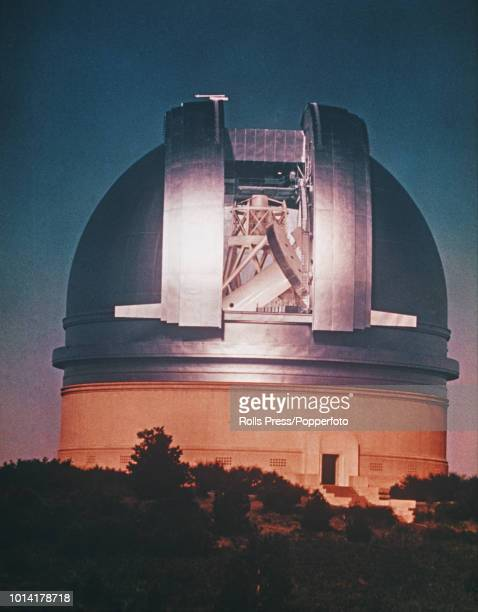View of the Hale telescope and Palomar Observatory located on a mountaintop in the Palomar Mountain Range near San Diego California circa 1970
