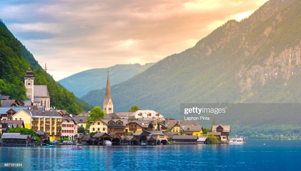 View of the Hallstatt with warm sunlight in evening : Stock Photo