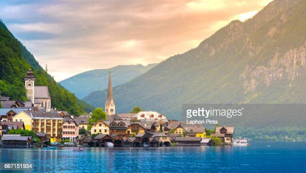View of the Hallstatt with warm sunlight in evening