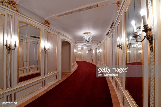 View of the hallway leading to the main auditorium of Berlin's Staatsoper on October 1 prior to its official reopening on October 3 after a 7year...