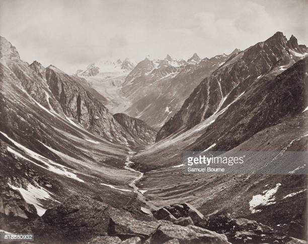 A view of the Hama Pass in the Lahaul Valley in the Himalayas Himachal Pradesh India 1866 Vintage albumen print