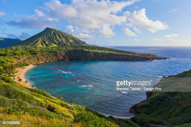 A view of the Hanauma Bay Nature Preserve State park with Kokohead in background, East Honolulu