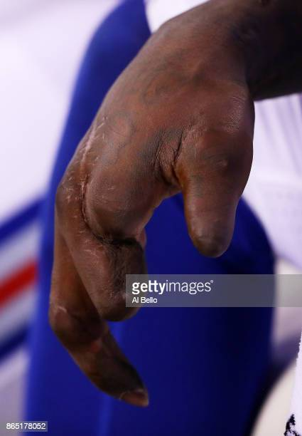 View of the hand of Jason Pierre-Paul of the New York Giants during their game against the Seattle Seahawks at MetLife Stadium on October 22, 2017 in...