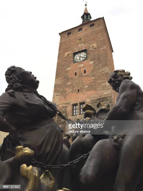 View of the Hans Sachs Fountain also known as 'Ehebrunnen' in the inner city of Nuremberg Germany 5 September 2017 Due to flooding the famous...