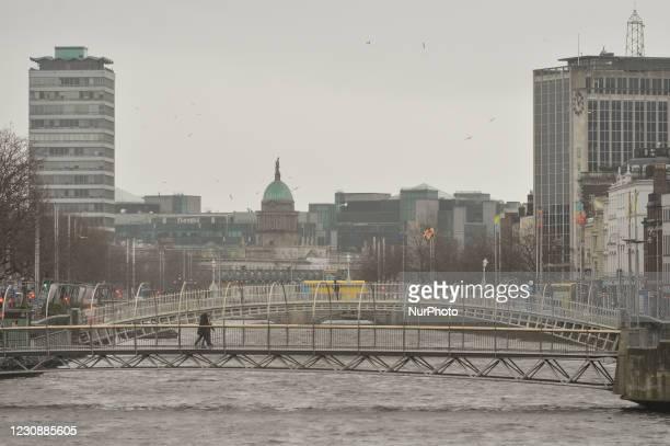 View of the Ha'penny Bridge in Dublin city center during Level 5 Covid-19 lockdown. On Saturday, 30 January in Dublin, Ireland.