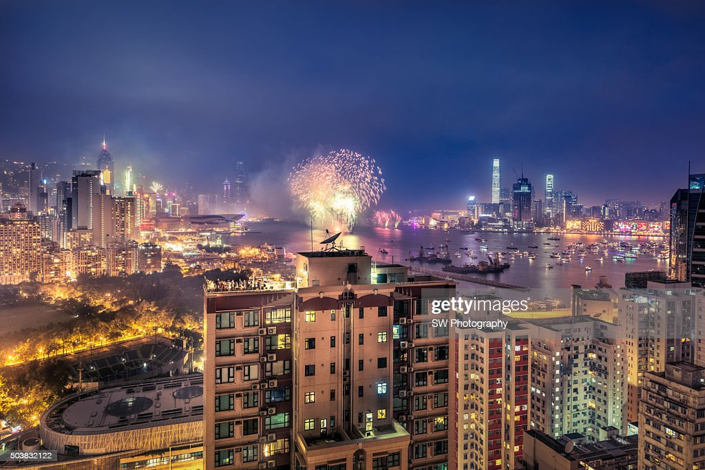 view of the happy new year fireworks in hong kong china stock photo