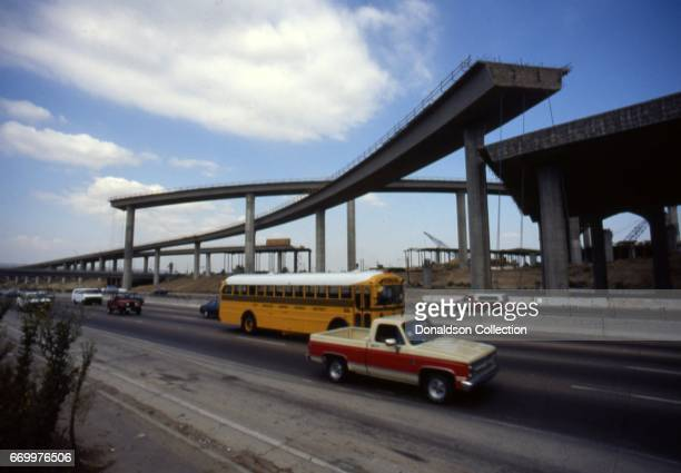 A view of the Harbor Freeway 105 being built in February 1990 in Los Angeles California