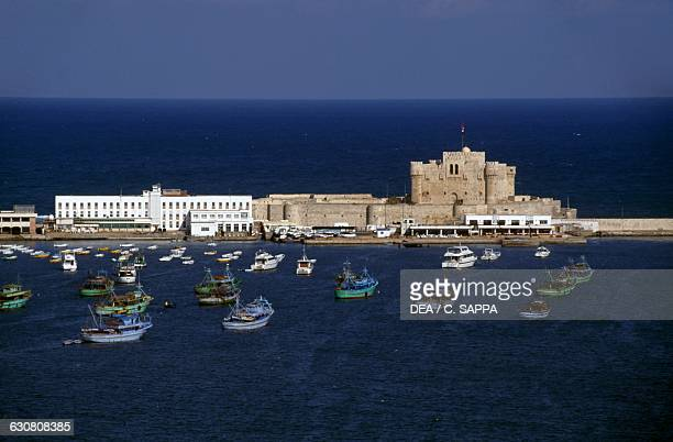 View of the harbour and the Citadel of Qaitbay ca 1480 Alexandria Egypt 15th century