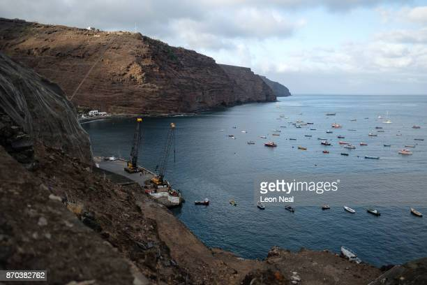 A view of the harbour on October 26 2017 in Jamestown Saint Helena Following the introduction of weekly flights to the island resident St Helenians...