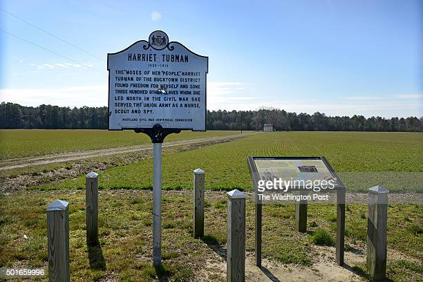 View of the Harriet Tubman Historical Marker at Brodess Farm in Cambridge MD on March 5 2013 Though the farm has been historically recognized as...