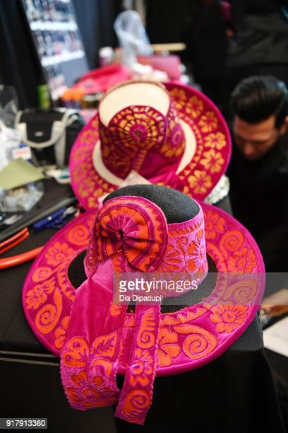 A view of the hats backstage for Naeem Khan during New York Fashion Week The Shows at Gallery I at Spring Studios on February 13 2018 in New York City