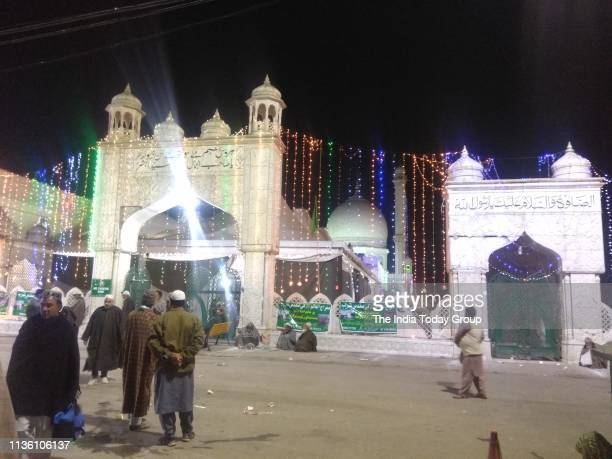 A view of the Hazratbal shirine decorated with lights on the occasion of ShabeMeraj at Hazratbal in Srinagar