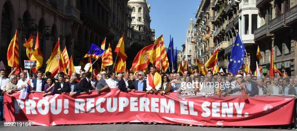 A view of the head of the March during the demonstration for the unity of Spain Thousands of people protested on Sunday in Barcelona against the...