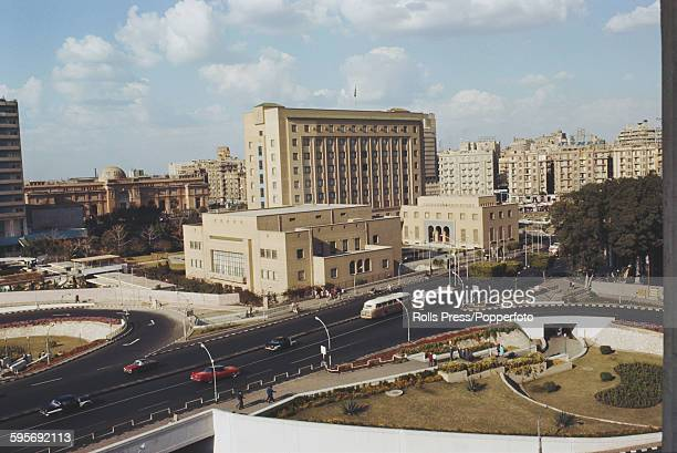 View of the headquarters building of the Arab League located in Tahrir Square with the Egyptian Museum behind in downtown Cairo Egypt 1968