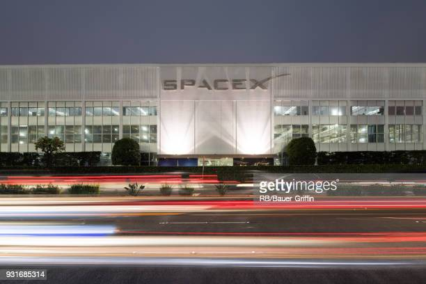 View of the headquarters of SpaceX owned by Elon Musk on March 13 2018 in Los Angeles California