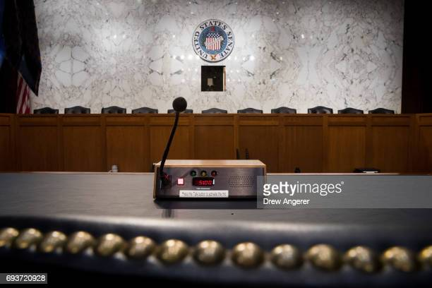 A view of the hearing room before FBI Director James Comey testifies before the Senate Intelligence Committee in the Hart Senate Office Building on...