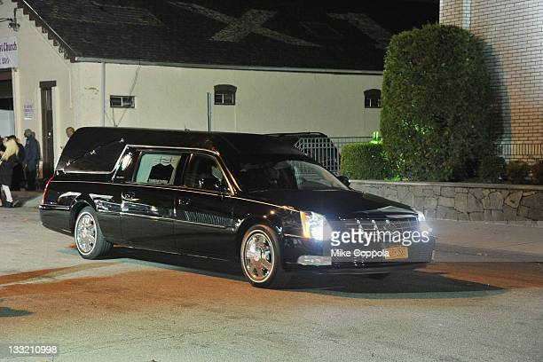 A view of the hearse carrying the body of rapper/record producer Heavy D at his viewing and wake service at Grace Baptist Church on November 17 2011...