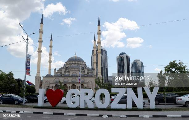 A view of the Heart of Chechnya Akhmad Kadyrov Mosque and large letters reading 'I love Grozny' in Grozny on June 9 ahead of the Russia 2018 World Cup