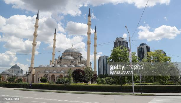 A view of the Heart of Chechnya Akhmad Kadyrov Mosque in Grozny on June 9 ahead of the Russia 2018 World Cup