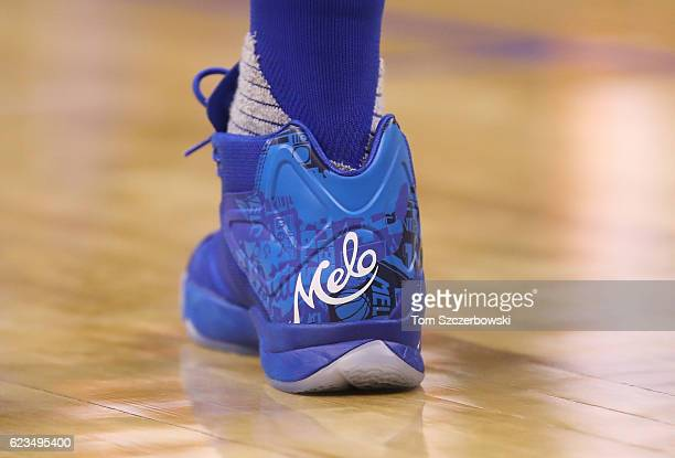 A view of the heel of the shoes worn by Carmelo Anthony of the New York Knicks bearing his personalized logo during NBA game action against the...