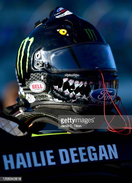 A view of the helmet worn by Hailie Deegan driver of the Monster Energy Ford prior to the ARCA Menards Series Lucas Oil 200 Driven by General Tire at...
