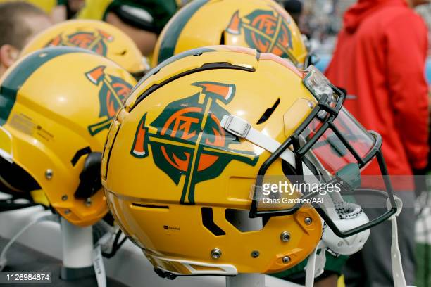 A view of the helmets of the Arizona Hotshots during their Alliance of American Football game against the Salt Lake Stallions at Rice Eccles Stadium...