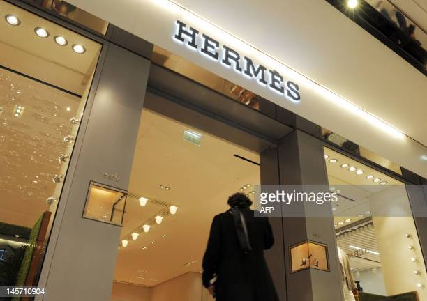 View of the Hermes boutique taken in the new connecting building between terminals 2A and 2C at Paris Charles de Gaulle Airport near Paris...