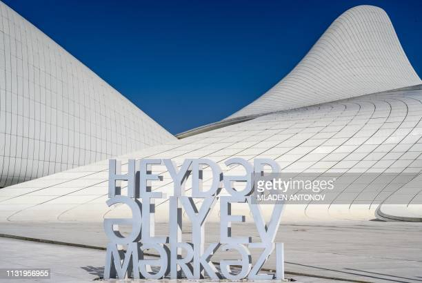 A view of the Heydar Aliyev Center in Baku on March 22 2019 The building was designed by IraqiBritish architect Zaha Hadid and is considered one of...