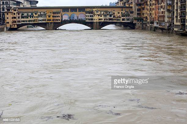 View of the high water levels on the Arno River at Ponte Vecchio bridge on January 31, 2014 on Florence, Italy. Many areas of central and northern...