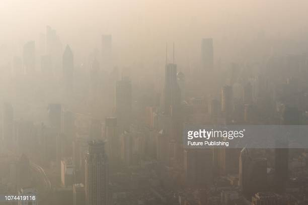 A view of the highrises in the light haze in central Shanghai China Tuesday Dec 18 2018PHOTOGRAPH BY Feature China / Barcroft Images
