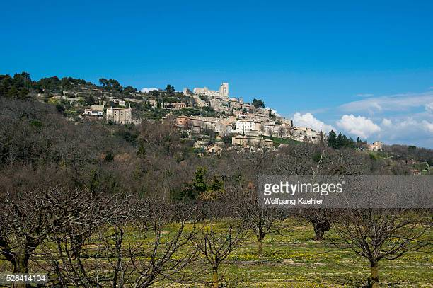View of the hillside village of Lacoste in the Luberon in the ProvenceAlpesC��te d'Azur region in southeastern France