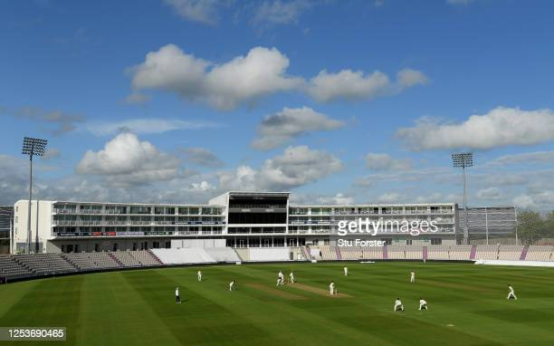 A view of the Hilton Hotel during play on Day One of a England Warm Up Match at the Ageas Bowl on July 01 2020 in Southampton England