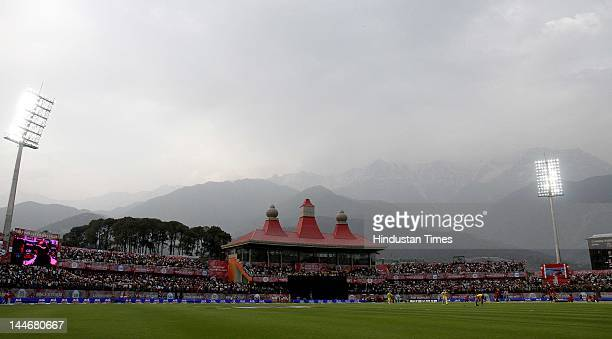 View of the Himachal Pradesh Cricket Association Stadium where the IPL Twenty 20 cricket match being played between Kings XI Punjab and Chennai Super...