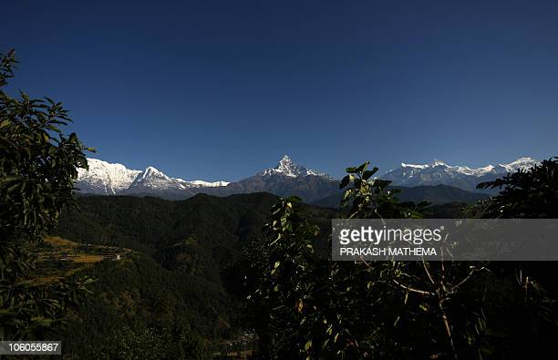 A view of the Himalayan Mountain range of Annapurna and Mount Machhapuchre from Pokhara some 200kms west of Kathmandu on October 24 2010 Pokhara is...