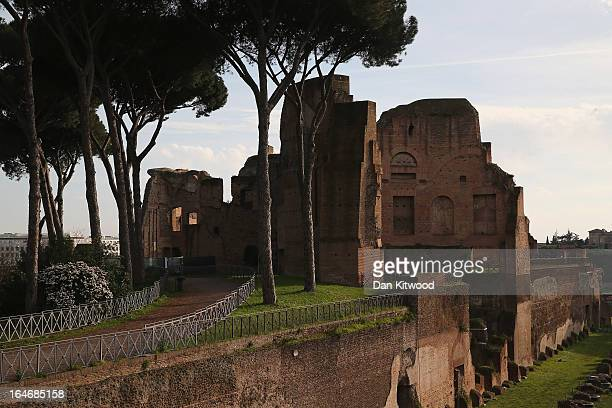 A view of the Hippodrome of Domitian from Palatine Hill in ancient Rome on March 23 2013 in Rome Italy