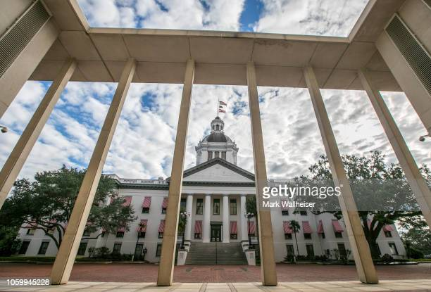 A view of the historic Old Florida State Capitol building through the columns of the current New Capitol on November 10 2018 in Tallahassee Florida...