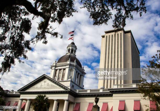 View of the historic Old Florida State Capitol building, which sits in front of the current New Capitol, on November 10, 2018 in Tallahassee,...