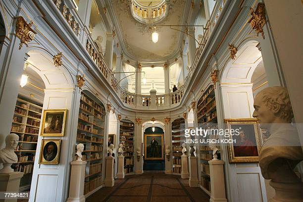 View of the historic Rokoko hall of the Anna Amalia library in Weimar eastern Germany 18 October 2007 Books of the huge collection were brought back...
