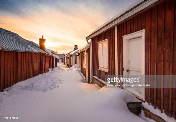 a view of the historic village of old lulea, lapland, sweden. - swedish lapland stock-fotos und bilder