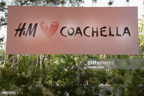 A view of the HM Loves Coachella sign during the Official HM Loves Coachella Party at the Parker Palm Springs on April 10 2015 in Palm Springs...