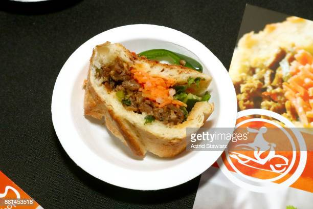 A view of The 'Hog' Sandwich served by Xe May Sandwich Shop during Street Eats hosted by Ghetto Gastro at Industria on October 14 2017 in New York...