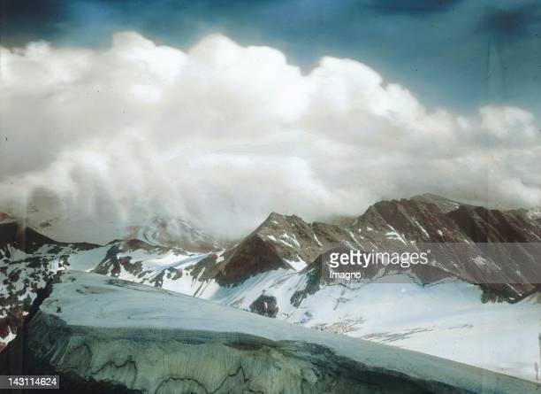 View of the Hohe Tauern between Salzburg and Carinthia Austria Hand coloured lantern slide Around 1900