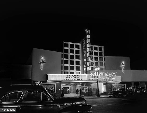 A view of The Hollywood Palladium on Sunset Boulevard with Buddy Rich and his Orchestra on the marquee on April 23 1946 in Los Angeles California