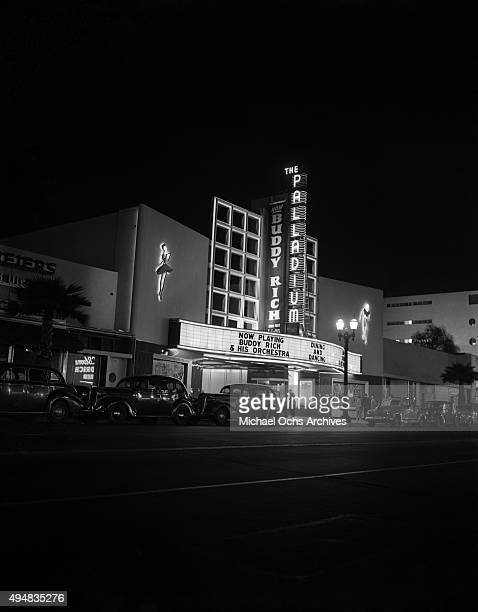 View of The Hollywood Palladium on Sunset Boulevard with Buddy Rich and his Orchestra on the marquee on April 23, 1946 in Los Angeles, California.