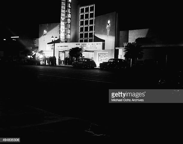 A view of The Hollywood Palladium on Sunset Boulevard with Sammy Kaye and his Orchestra on the marquee on February 8 1944 in Los Angeles California
