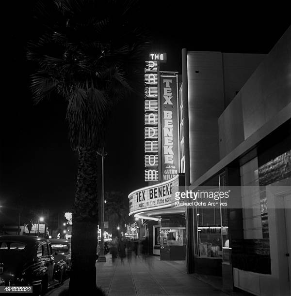 View of The Hollywood Palladium on Sunset Boulevard with Tex Beneke and the Glenn Miller Orchestra on the marquee on November 9, 1949 in Los Angeles,...