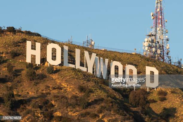 View of the Hollywood Sign on Mount Lee on March 18, 2020 in Los Angeles, California.